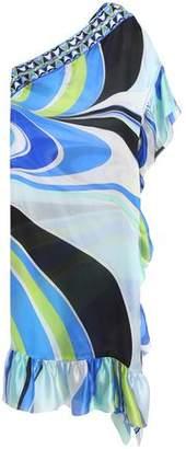 Emilio Pucci Printed Ruffle-Trimmed Silk-Satin Coverup