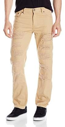 Southpole Men's Twill Pants Long Destructed Ripped Repaired in Solid Colors