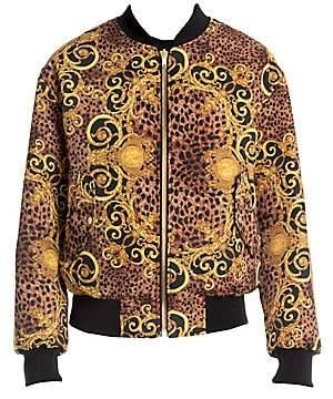 Versace Men's Leo Baroque Print Reversible Bomber