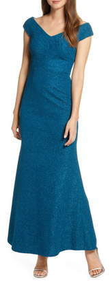 Eliza J Wide V-Neck Sparkle Trumpet Gown
