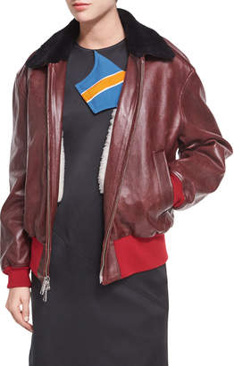 Calvin Klein Leather Bomber Jacket with Shearling Lining