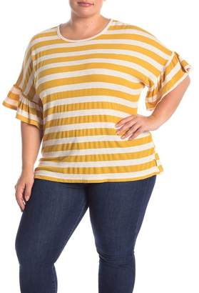 MelloDay Ruffle Sleeve Striped T-Shirt (Plus Size)