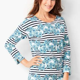 Talbots Floral & Stripe Terry Top
