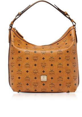 MCM Essential Visetos Original Cognac Medium Hobo Bag