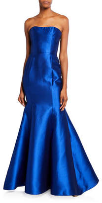 Marchesa Strapless Mikado Pique Mermaid Gown with Back Draped Bow