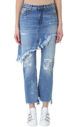 R 13 Double Classic Shredded Regular-fit Mid-rise Jeans
