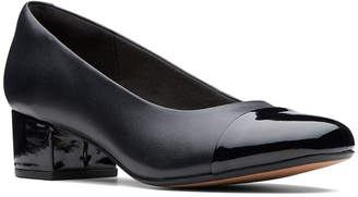 Clarks Womens Chartli Diva Pumps Slip-on Block Heel