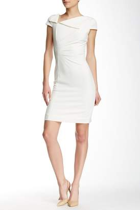 Tahari Fold-Over Neck Sheath Dress