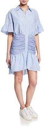 Cinq à Sept Asher Striped Short-Sleeve Shirt Dress
