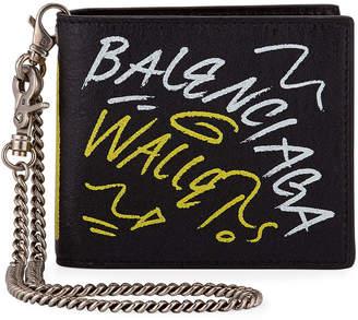 Balenciaga Men's Explorer Square Coin Wallet - 75007 Paris Graffiti