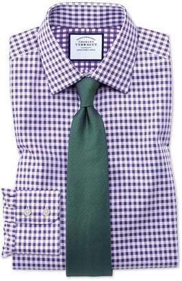 Charles Tyrwhitt Classic Fit Non-Iron Gingham Purple Cotton Dress Shirt Single Cuff Size 16/33