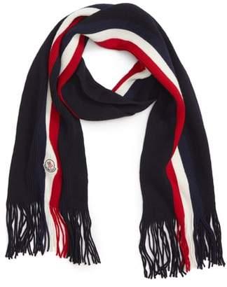 Moncler Sciarpa Logo Stripe Wool Scarf