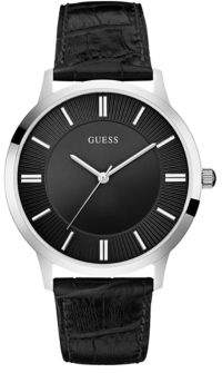 GUESS Silvertone and Black Dress Watch