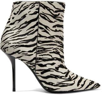 Saint Laurent Pierre Zebra-print Calf Hair Ankle Boots - Zebra print