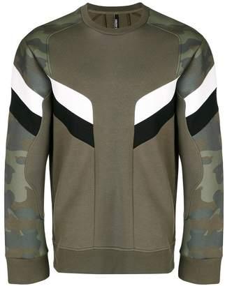 Neil Barrett camouflage panel sweatshirt