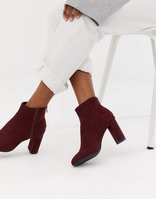 New Look heeled chelsea boot in dark red