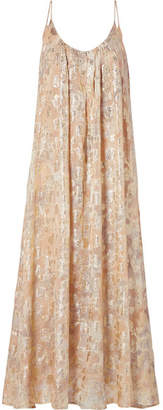 Mes Demoiselles Aspasie Printed Metallic Fil Coupé Maxi Dress - Shiny gold