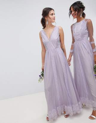 Asos Design DESIGN Bridesmaid Dobby Mesh And Lace Mix Sleeveless Maxi Dress