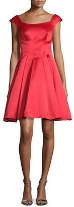 Zac Posen Cap-Sleeve Satin Fit & Flare Dress, Lipstick Red