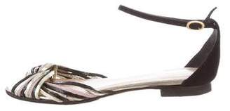 Loeffler Randall Braided Leather Ankle Strap Sandals