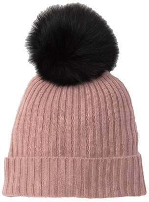 360 Cashmere Lulu Cashmere Dyed Genuine Fox Fur Pompom Beanie