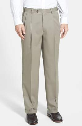 Berle Self Sizer Waist Pleated Wool Gabardine Trousers