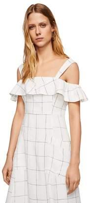 MANGO White Pure Linen 'Riviera' Cold Shoulder Dress