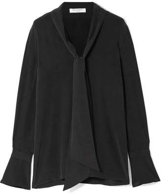 Equipment Jacqueleen Pussy-bow Washed-silk Blouse - Black