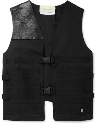 Leather-Trimmed Padded Tech-Jersey And Neoprene Gilet