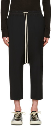 Rick Owens Black Drawstring Cropped Trousers $680 thestylecure.com