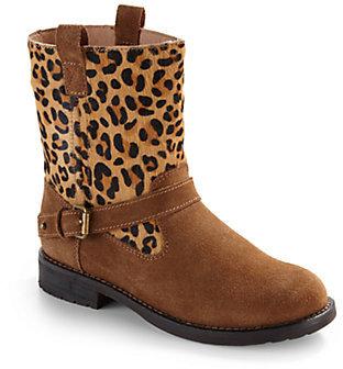 Ralph Lauren Girl's Leopard Print Haircalf Suede Boots