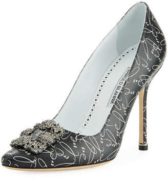 Manolo Blahnik Hangisi 10th Anniversary Love Leather Pumps