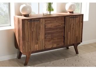 Baxton Studio Sierra Mid-Century Modern Brown Wood 3-Drawer Sideboard