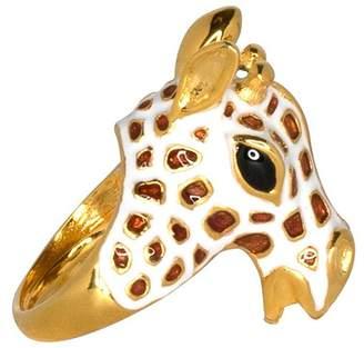 Kenneth Jay Lane Giraffe Head Ring - White/Tan