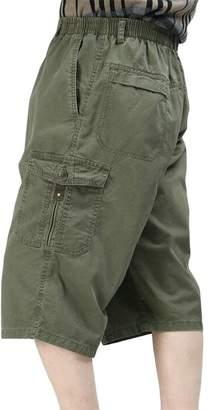 Pandapang Men's Multi-Pocket Big-Tall Tactical Capri Pants Elastic Waist Cargo Shorts 3X-Large