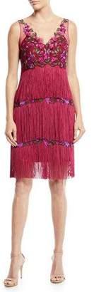 Marchesa Sleeveless Embroidered Fringe Dress