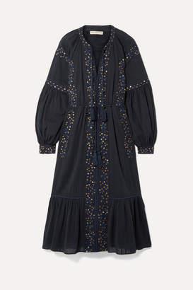 Ulla Johnson Vanita Embellished Cotton-gauze Midi Dress - Midnight blue
