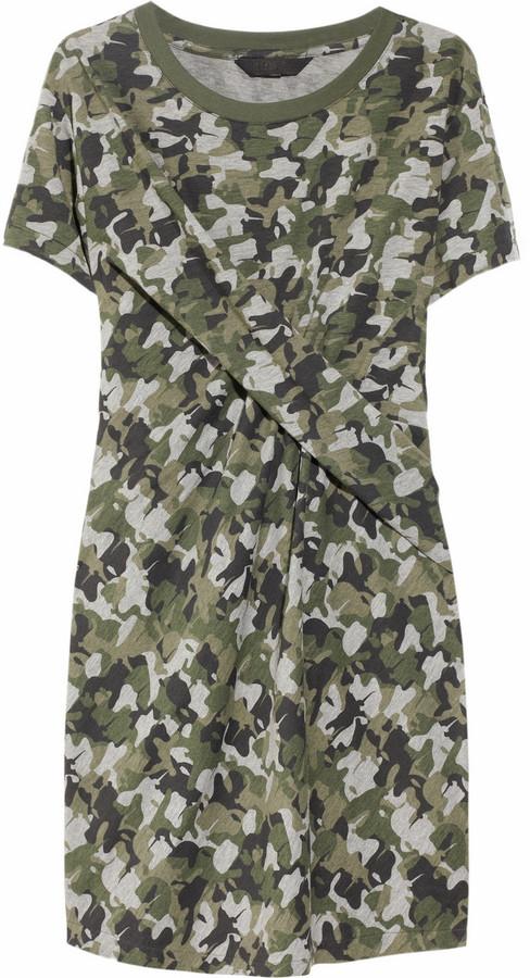 Karl Davin camo-print twisted jersey dress