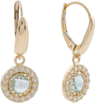 Made In Italy 14k Gold Blue Topaz And Cz Halo Earrings