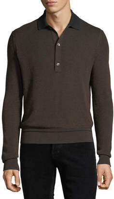 Tom Ford Men's Silk/Cotton Oxford Jacquard Polo Sweater