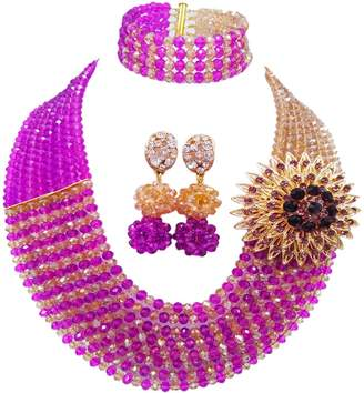aczuv Women Fashion 8 Rows Crystal Beaded Nigerian Wedding Necklace Custome African Beads Jewelry Set Bridal Party Jewelry Sets