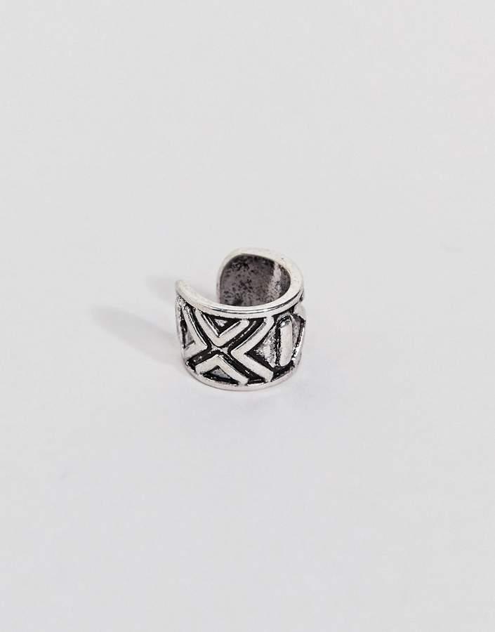 Classics 77 burnished silver ear cuff with geo-tribal print