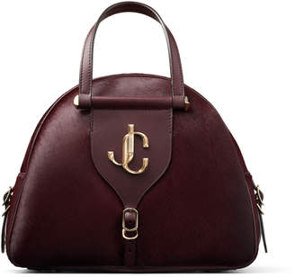 Jimmy Choo VARENNE BOWLING/M Bordeaux Pony Skin Bowling Bag with Gold JC Logo