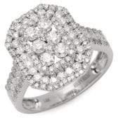 Effy Diamond & 14K White Gold Rectangular Ring