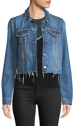 Veronica Beard Cara Cropped Jean Jacket with Rhinestones