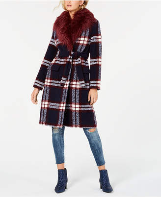 GUESS Faux-Fur Collar Plaid Coat
