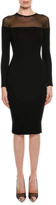 Tom Ford Round-Neck Illusion-Yoke Silk Knit Cocktail Dress