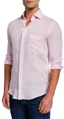 Peter Millar Men's Crown Cool Solid Woven Linen Shirt with Pocket