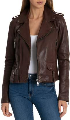 Bagatelle NYC Cropped Lamb Leather Trucker Jacket