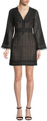The Kooples Guipure And Embroidered Mini Dress